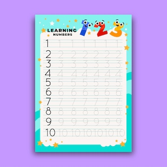 Numbers tracing worksheet for kids