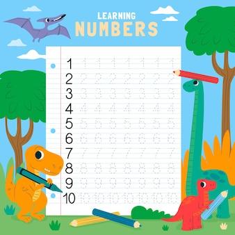 Шаблон рабочего листа трассировки чисел для детей