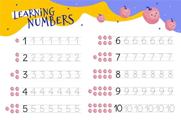 Numeri che tracciano il foglio di lavoro con le illustrazioni