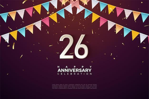 26周年を祝うカラフルな旗の下の数字