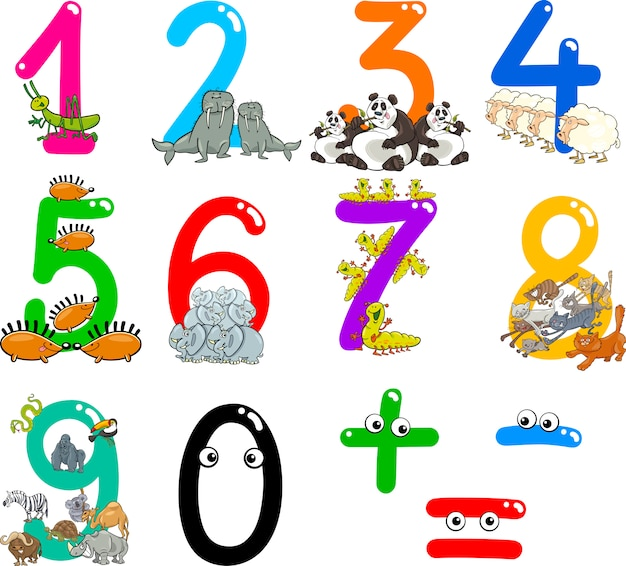 Числа с мультяшными животными