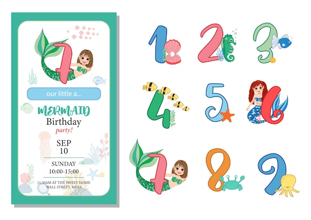 Numbers with marine life  set. beautiful element for mermaid birthday party design, invitation, greeting card and cake toppers. Premium Vector