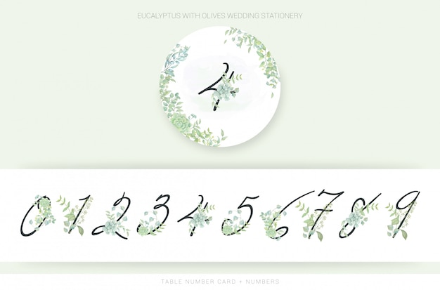 Numbers with watercolor leaves