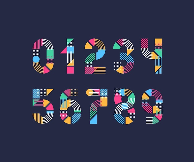 Numerals. set of creative color geometry shapes figures and numbers.