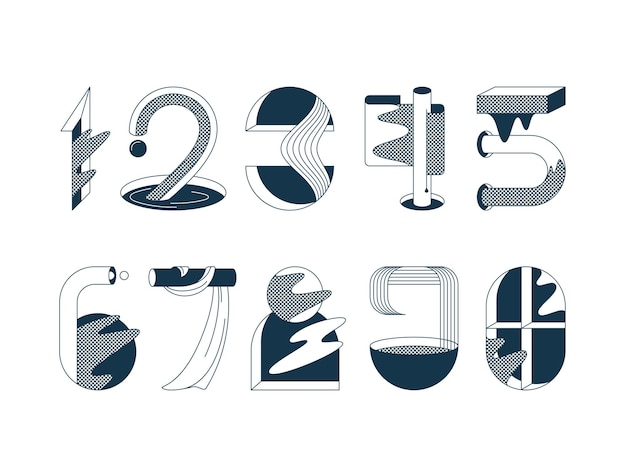 Numerals. set of graphical black and white numbers.