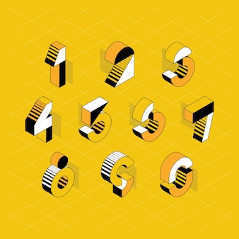 Numerals. set of isometric color geometry shapes' figures and numbers.