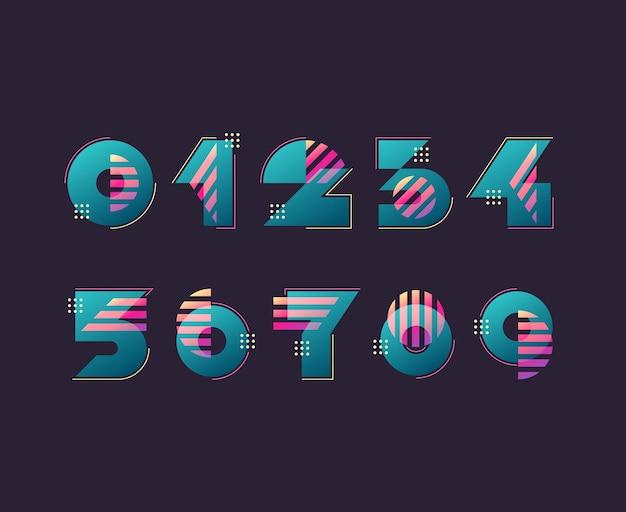 数字。シンプルなカラージオメトリシェイプの図と数字のセット。