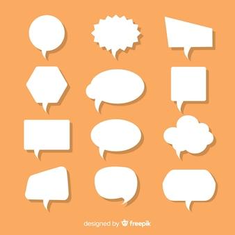 Numerous flat paper style speech bubbles