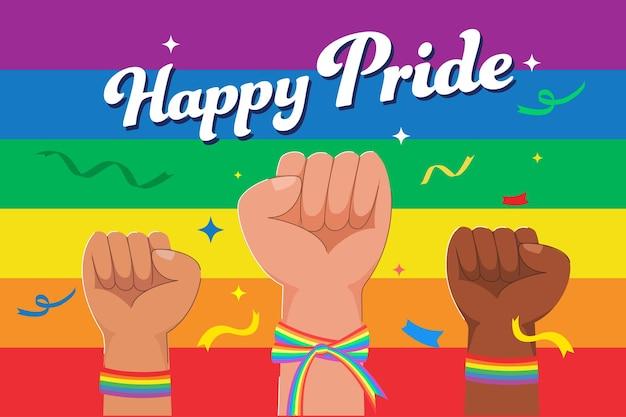 다양한 국적과 젠더의 수많은 손이 젠더와 라이프스타일의 자유를 표현하기 위해 제기됩니다.