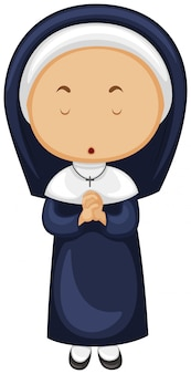 Nun in blue outfit