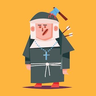 수녀 만화 할로윈 캐릭터 배경에 고립입니다.