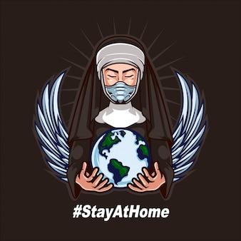 修道女のマスクを着用し、人間の戦いをサポートする世界を開催コロナウイルスを再度反対