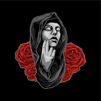 Nun with flower illlustration