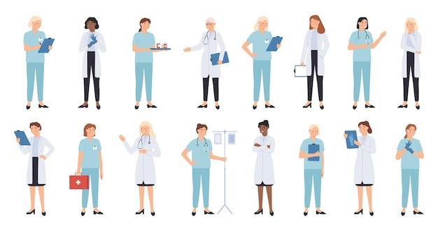 看護師と医師。女性医師チーム。医療スタッフの医師と看護師、医療従事者、専門の救急医療従事者のキャラクター。