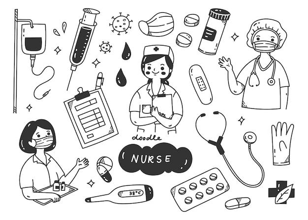 Медсестра и медицинские комплекты каракули