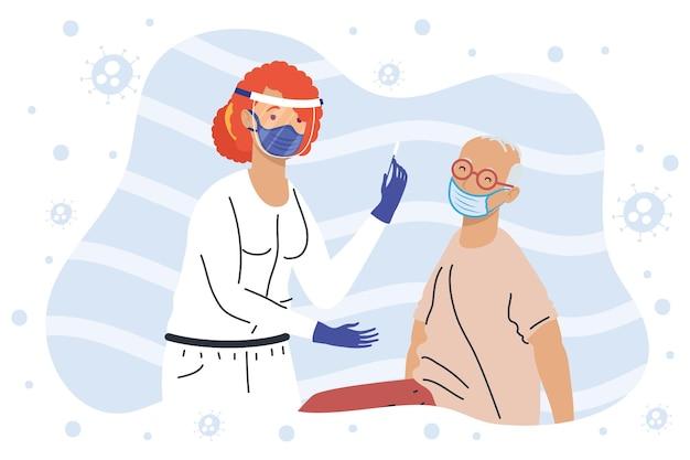 Медсестра и медсестра тестируют персонажей на коронавирус