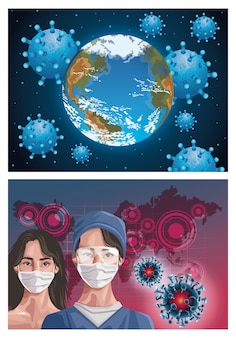 대륙지도, 보호와 마스크를 사용하여 간호사와 여자
