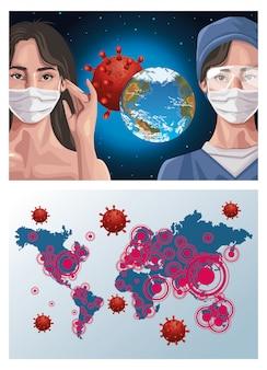 Медсестра и женщина, используя маску с картами континентов, защита
