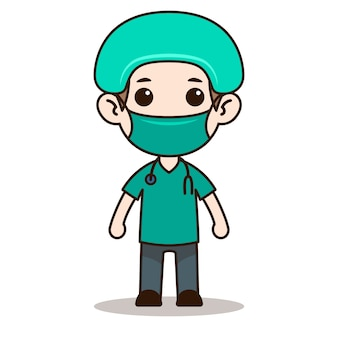 Nurse chibi character design with mask