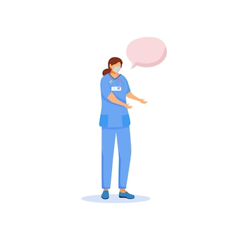 Nurse  color  faceless character. female surgeon in medical mask. hospital doctor. person with speech bubble  cartoon illustration for web graphic  and animation