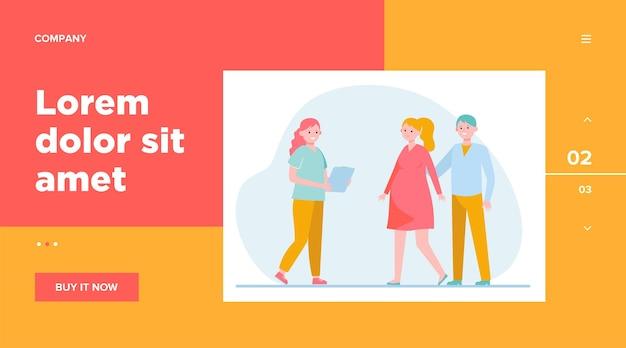 妊婦相談看護師。母、赤ちゃん、クリニック。ウェブサイトのデザインやランディングウェブページのヘルスケアと妊娠の概念