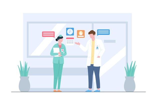 Nurse discuss with a doctor vector scene illustration