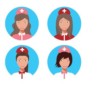 Nurse doctor female avatar set vector illustration.