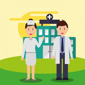 Nurse and doctor staff medical team hospital