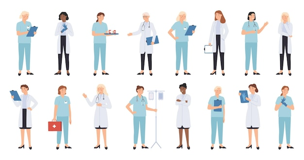 Nurse and doctors. women doctors team. medical staff doctor and nurse, medics, professional paramedic   physician characters.