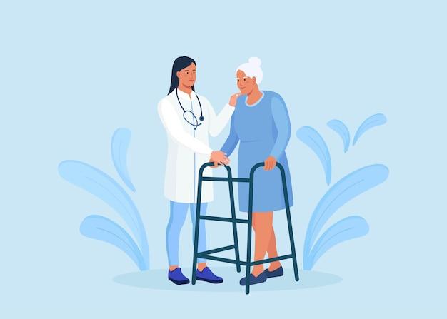 간호사는 보행기로 노인 환자를 돕습니다. 정형 외과 치료 재활에 있는 사람들. 장애인과 함께 일하는 치료사, 신체 활동 재활, 물리 치료. 수석 남자와 의사