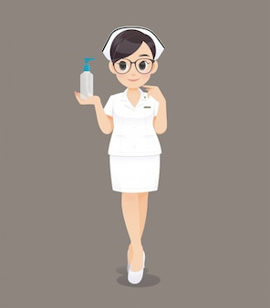 The nurse holding hand washing gel. cartoon woman doctor or nurse wearing brown glasses in a white uniform