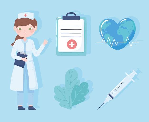 Nurse medical syringe clipboard set