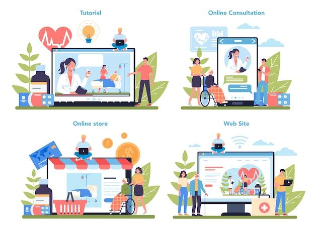 간호사 온라인 서비스 또는 플랫폼 세트. 노인 인내를위한 의료 직업, 병원 및 클리닉 직원. 온라인 상점, 웹 사이트, 상담 또는 비디오 튜토리얼. 격리 된 벡터 일러스트 레이 션