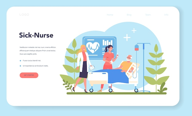 Nurse service web banner or landing page