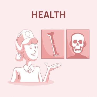 骨を示す看護師xrays