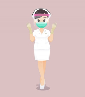 Nurse wearing face shield in a white uniform and wearing medical gloves