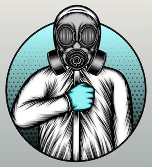 Nurse wearing gas mask.