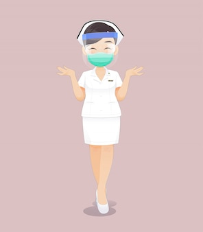 Nurse wearing a health mask or surgical mask and face shield