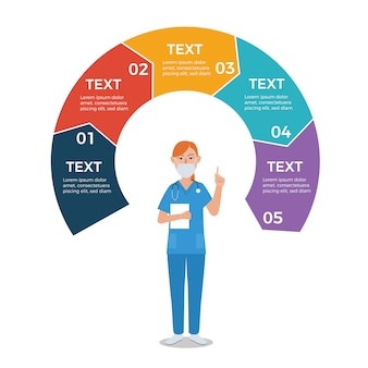 Nurse with circle arrows infographic template