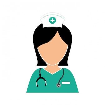 Nurse with stethoscope icon design