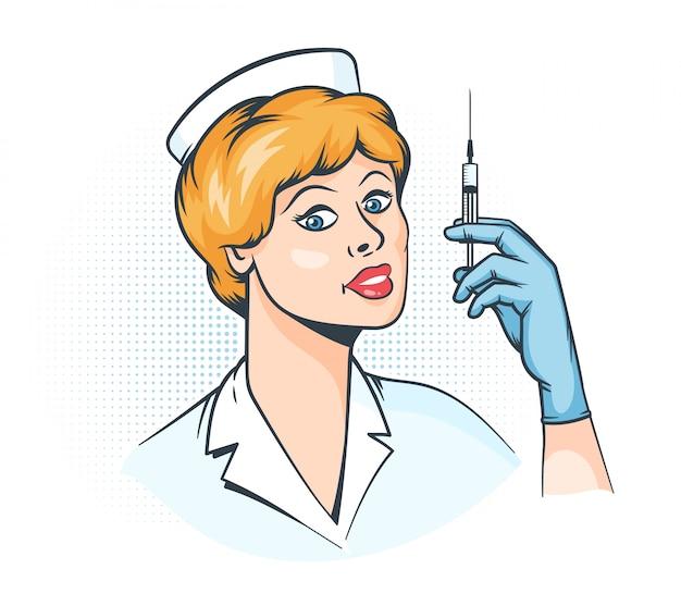 看護師の注射器を手に-ポップアートのレトロなイラスト