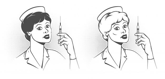手に注射器を持つ看護師-ポップアートのレトロなポスター