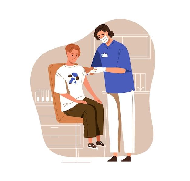病院で抗ウイルスワクチン注射をしているティーンエイジャーに注射器で予防接種をしている看護師。子供のための予防接種とcovid予防。白い背景で隔離の色のフラットベクトルイラスト。