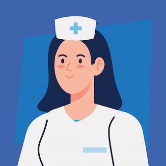 制服を着た看護師、女性看護師、病院労働者のベクトルイラストデザイン
