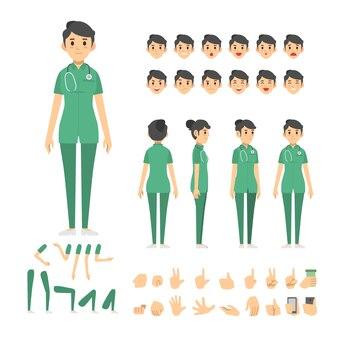 Nurse woman character set