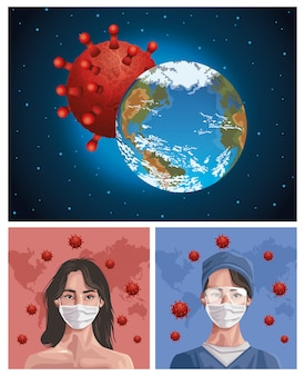 Nurse and woman using fase mask with earth planet , protection