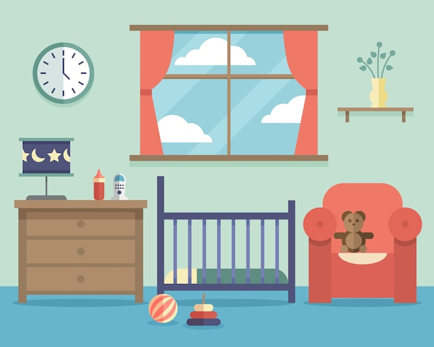 Nursery baby room interior with furniture in flat style. house indoor design bedroom