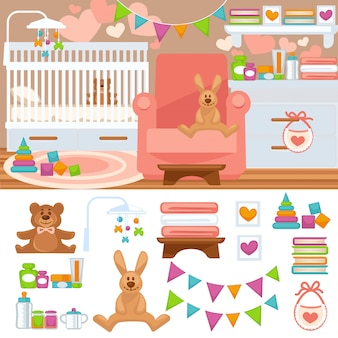 Nursery and childhood bedroom interior.