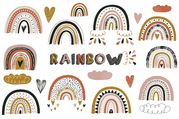 Детские симпатичные бохо радуга элементы