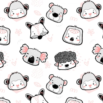 Nursery cute wild animal heads outline drawing seamless pattern